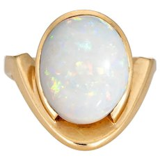 Vintage 70s Natural Opal Ring 14 Karat Yellow Gold Abstract Design Sz 3 Pinky Jewelry