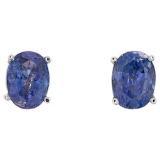 3ct Tanzanite Stud Earrings Estate 14 Karat White Gold Oval Faceted Fine Jewelry