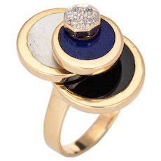 Diamond Spinning Ring Vintage 14 Karat Yellow Gold Onyx Lapis MOP Spinner Jewelry