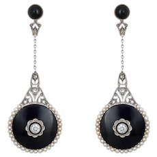 Belle Epoque Earrings Antique Diamond Onyx Pearl Drops 18 Karat Gold Platinum French