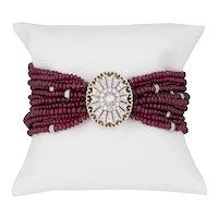 Multi Strand Ruby Bracelet Diamond Clasp Estate 18 Karat White Gold Vintage Jewelry