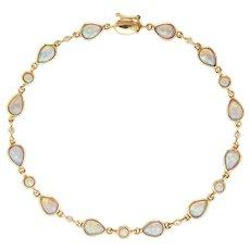 "6.50ct Opal Diamond Bracelet Vintage 14 Karat Yellow Gold Pear Cut 7.5"" Fine Jewelry"
