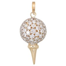 Diamond Golf Ball on Tee Charm Vintage 14 Karat Yellow Gold Pendant Sporting Jewelry