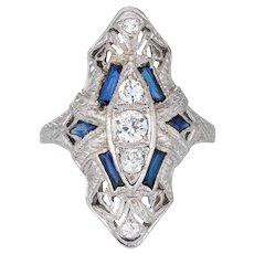 Antique Deco Diamond Sapphire Ring Vintage 18 Karat White Gold Filigree Dinner Plaque