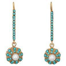 Persian Turquoise Cultured Pearl Earrings Vintage 18 Karat Yellow Gold Drops Jewelry