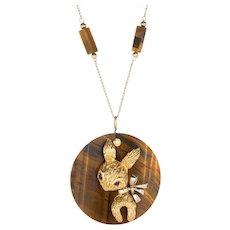 70s Tigers Eye Rabbit Medallion Necklace Vintage 14 Karat Yellow Gold Animal Jewelry