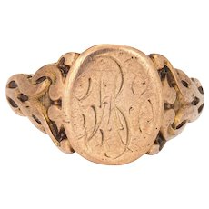 Antique Victorian Signet Ring Vintage 10 Karat Rose Gold Oval Chased Fine Jewelry
