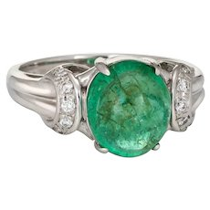 Cabochon Emerald Diamond Ring Vintage Platinum Gemstone Engagement Jewelry