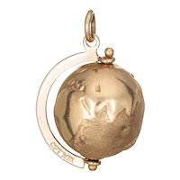"Vintage Globe Charm 14 Karat Yellow Gold Movable 3/4"" Estate Pendant Fine Jewelry"