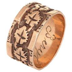 Antique Victorian Ivy Leaf Pattern Ring Wide Wedding Band Sz 6.5 10 Karat Rose Gold