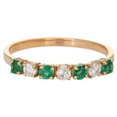 Emerald Diamond Half Hoop Band Vintage 14 Karat Yellow Gold Stacking Ring Sz 6.75