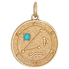 Aquarius Zodiac Sign Charm Turquoise Vintage 14 Karat Yellow Gold Astrology Pendant