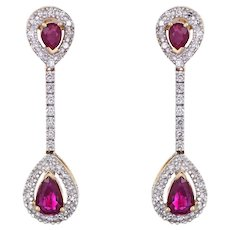 Ruby Diamond Earrings Vintage 14 Karat Yellow Gold Linear Drops Pear Shaped Jewelry