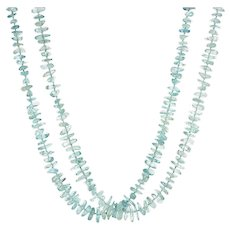 "Gump's Aquamarine Necklace Estate Double Strand Long 29"" 14 Karat Gold Freeform"