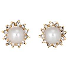 7mm Cultured Pearl Diamond Earrings Estate 14 Karat Yellow Gold Round Halo Studs