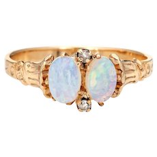 Antique Victorian Opal Diamond Ring Two Stone 10 Karat Yellow Gold Vintage Jewelry