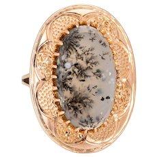 Vintage Moss Agate Ring 10 Karat Rose Gold Large Oval Cocktail Estate Fine Jewelry