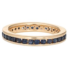 Sapphire Eternity Ring Sz 8.5 Vintage 14 Karat Yellow Gold Estate Stacking Band