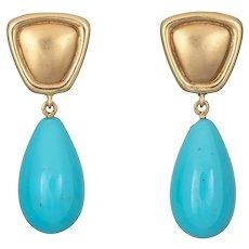 Egg Shell Blue Turquoise Earrings Vintage 18 Karat Yellow Gold Tear Drop Fine Jewelry