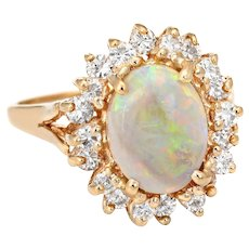 Vintage Natural Opal Diamond Ring 14 Karat Yellow Gold Princess Cocktail Jewelry Sz 4