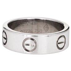 Cartier Love Ring 5.5mm Sz 48 4 1/2 18 Karat White Gold Signed Ring Circa 1996 Box