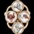 Victorian Essex Crystal Conversion Ring Horse Fox Dog Vintage 14 Karat Gold Jewelry