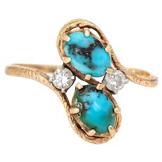 Vintage 70s Natural Turquoise Diamond Ring 14 Karat Yellow Gold Estate Fine Jewelry