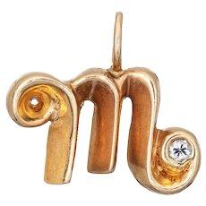 Letter M Initial Pendant Vintage Charm 14 Karat Estate Fine Jewelry Cursive Font