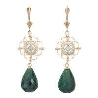 Briolette Emerald Diamond Earrings Vintage 14 Karat Yellow Gold Drops Estate Jewelry