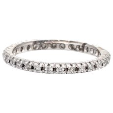 Vintage Diamond Eternity Ring Sz 6.5 Wedding Band 18 Karat White Gold Stacking