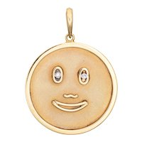 Happy Face Medallion Pendant Vintage Diamond Eyes 14 Karat Yellow Gold Large Round
