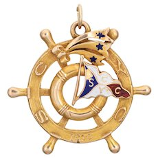 Antique c1910 Ships Wheel Pendant Nautical Jewelry 14 Karat LA Yacht Club Medallion