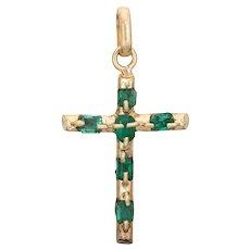 "Emerald Religious Cross Pendant Vintage 18 Karat Yellow Gold Estate Fine Jewelry 1.5"""