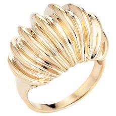 Fluted Gold Domed Ring Vintage 10 Karat Yellow Gold Sz 7 Estate Cocktail Jewelry
