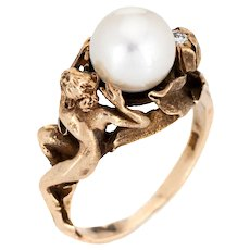 Nude Figural Ring Vintage 14 Karat Yellow Gold Cultured Pearl Diamond Flower Jewelry