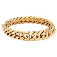 Cuban Link Chain Ring Vintage 18 Karat Yellow Gold Sz 8 1/2 Flex Band Fine Jewelry