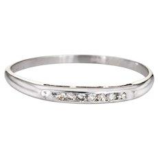 Vintage Art Deco Diamond Ring Sz 6 18 Karat White Gold Wedding Band Fine Jewelry