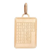 Vintage Calendar Date Charm 14 Karat Yellow Gold Pendant 1 to 31 Days Square Numbers