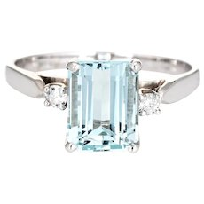 2.65ct Aquamarine Diamond Ring Vintage 14 Karat White Gold Gemstone Engagement Sz 6