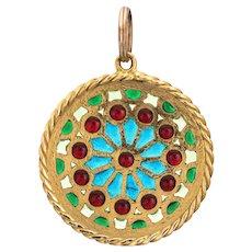 French Plique a Jour Pendant Vintage Fine Art Deco Jewelry 18 Karat Yellow Gold