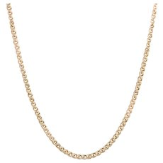 "Vintage 24"" Long Chain 10 Karat Yellow Gold Necklace Double Link Estate Jewelry"