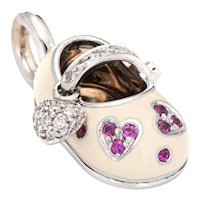 Aaron Basha Diamond Ruby Shoe Charm Hearts 18 Karat White Gold Estate Pendant