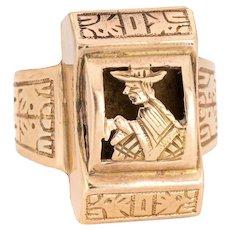 Vintage Aztec Ring 18 Karat Rose Gold Sz 4 Pinky Estate Fine Inca Mayan Jewelry