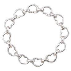 "Aaron Basha Heart Link Bracelet Estate 18 Karat White Gold 7.25"" Designer Jewelry"
