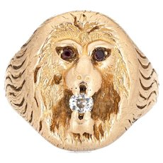 Antique Victorian Lion Ring Old Mine Diamond Garnet Eyes 14 Karat Yellow Gold 7 Old