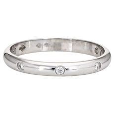 Cartier 1895 Wedding Band 3 Diamond Ring Platinum Sz 6 52 Certificate Estate
