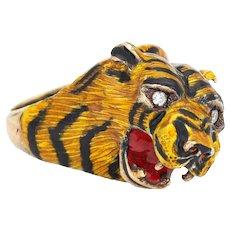 Bengal Tiger Ring Vintage 14 Karat Yellow Gold Animal Jewelry Enamel Sz 7 Estate