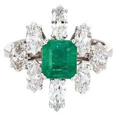 Emerald 2ct Diamond Ring Vintage 18 Karat White Gold Cocktail Jewelry Estate Sz 6.75