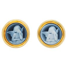 """Winged Angel Cameo Button Earrings 14 Karat Yellow Gold Round 3/4"""" Vintage Jewelry"""
