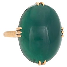 Vintage Art Deco Green Agate Ring 18 Karat Yellow Gold Large Oval Cocktail Jewelry 5